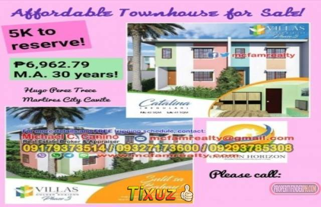 House and Lot For Sale in Trece Martires Cavite Catalina Golden Horizon